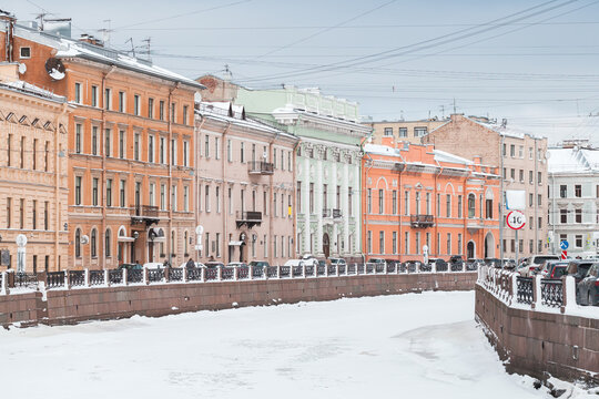 Moyka River view at winter day. St.Petersburg in wnter