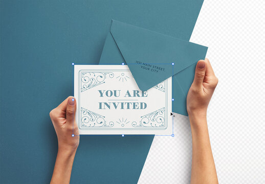 Mockup of Hands Holding Card with Envelope