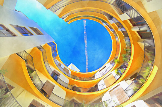 Modern apartment house architecture colorful painting looks like picture