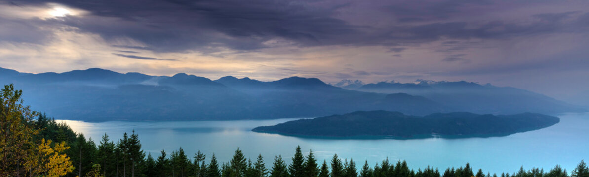 High angle view of Harrison Lake and island during sunset