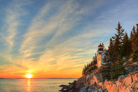 Scenic view of Bass Harbor Head Lighthouse during sunset