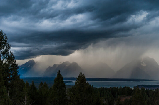 View of storm passing by Grand Teton National Park