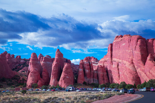 View of parking lot at the Devil's Garden in Arches National Park, Utah