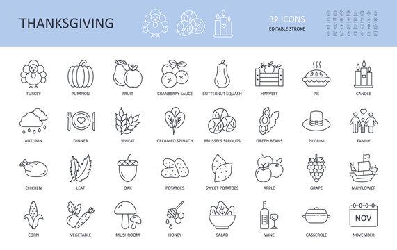 Vector icons Thanksgiving Day. Editable stroke. Turkey potatoes sweet cranberry sauce pie squash beans spinach autumn dinner wheat wine pumpkin. Harvest hat pilgrim chicken oak apple corn casserole