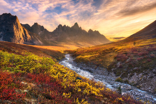 Scenic view of colorful tundra with Tombstone Mountain and Ogilvie Mountains during sunset