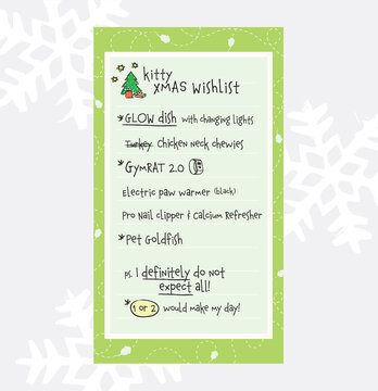 Cat Christmas whishlist. Kitty Xmas gift whish list, hand written by a modern young cat on paper. Concept for pets imitating humans or if pets could talk. Human pet owner parody illustration.