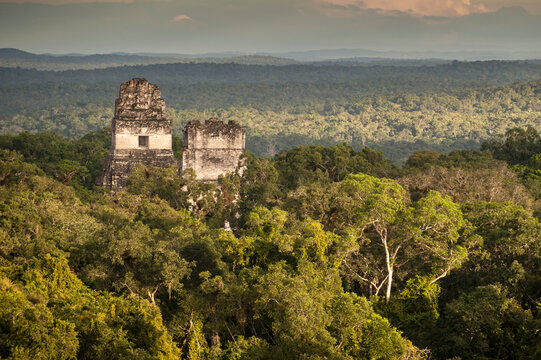 View of ruins of Tikal in rainforest in Belize