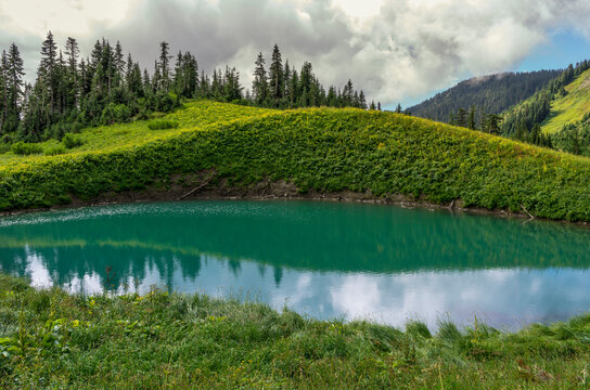 Scenic view of Spoon Lake and alpine larch trees