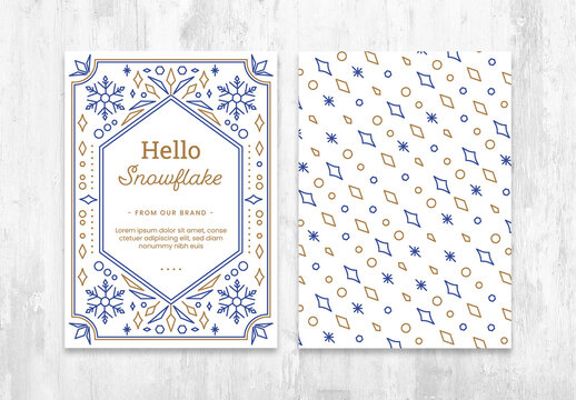 Winter Flyer Postcard Layout with Symmetrical Snowflake Illustrations