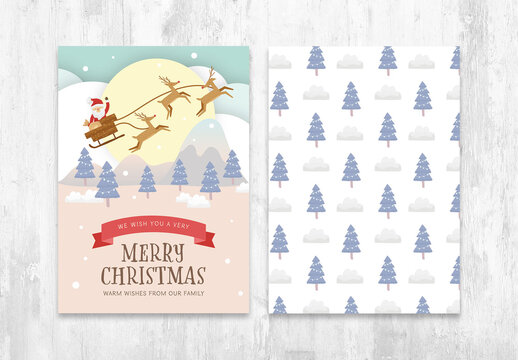 Christmas Flyer Layout with Santa Claus Reindeer