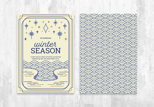 Winter Season Flyer Postcard Layout with Circular Pattern