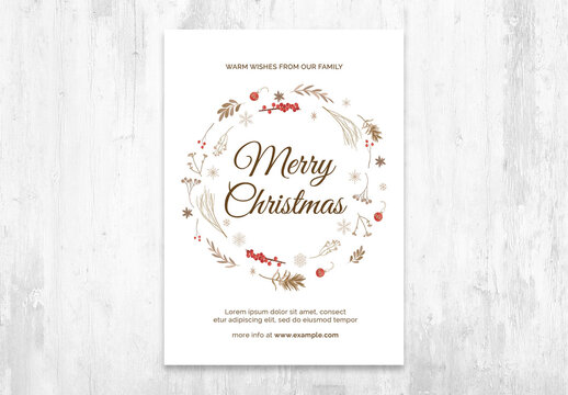 Simple Christmas Postcard Layout Invitation with Wreath Elements