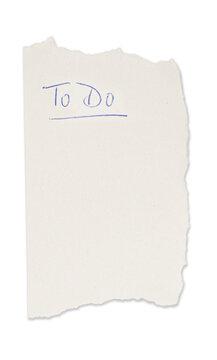 To Do Liste auf Zettel isoliert auf weißen Hintergrund