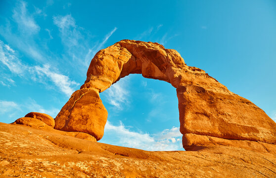 Iconic Delicate Arch at sunset, Arches National Park, Utah, USA.
