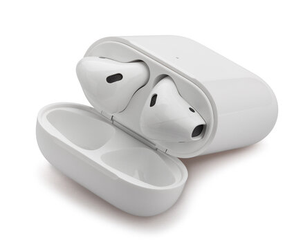air pods charging case path isolated on white