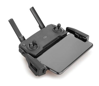 dji mavic mini drone controller with smartphone path isolated on white