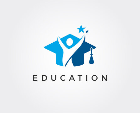 minimal education logo template - vector illustration