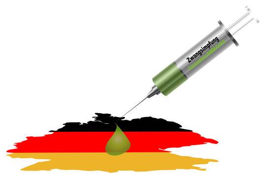 """Spritze mit dem Text """"Zwangsimpfung"""" aus der ein Tropfen auf Deutschland fällt. Vektordatei"""