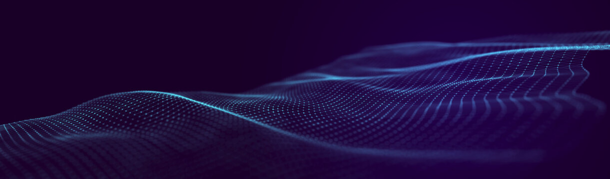 Abstract technology wave. Analytics view. Futuristic background. 3d rendering.