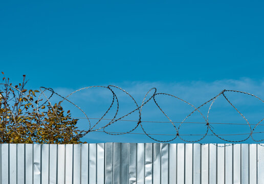 Barbed wire on a metal fence against a blue sky. Fence silt igda for