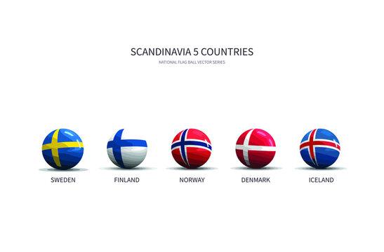 Flag Ball Vector of Scandinavia Countries.