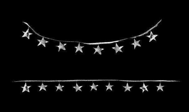 Watercolor Paint Christmas stars lights Silver Metallic Elegant handmade painting bush