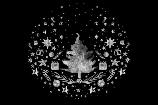 Watercolor Paint Christmas card pine Silver Metallic Elegant handmade painting bush