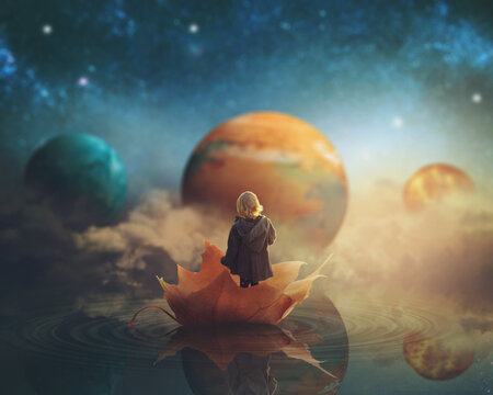 Little girl travelling through dream world, floating on a big fallen leaf; imagination/fantasy background; Elements of this image furnished by NASA