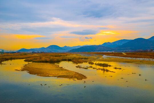 Sunset of Hyeongsan river and rural scenery in Gyeongju, Korea