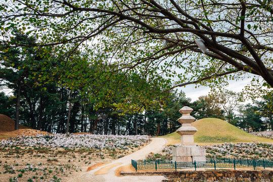 Seoak-dong Three-story Stone Pagoda and ancient royal tombs in Gyeongju, Korea