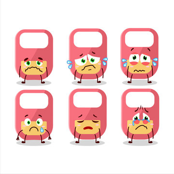 Pink baby appron cartoon character with sad expression