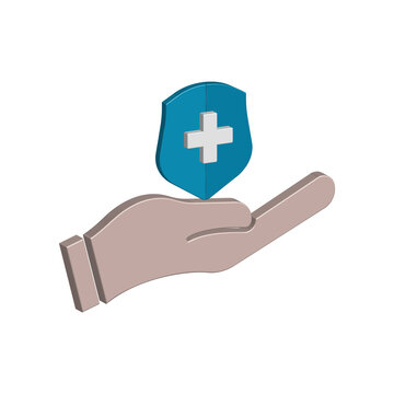 Hand icon 3d and shield with health symbol. Design vector illustration