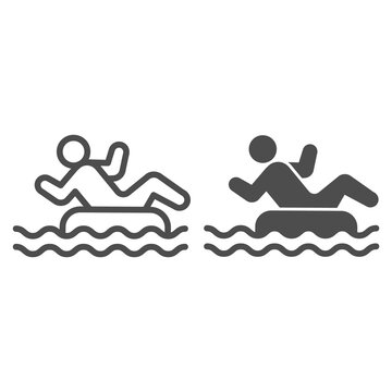 Person in inflatable ring line and solid icon, Aquapark concept, Swimming Ring sign on white background, Man with inflatable circle in water park icon in outline style for mobile. Vector graphics.