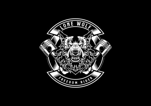 vintage retro badass lone wolf motorcycle club with an aggressive expression vector illustration