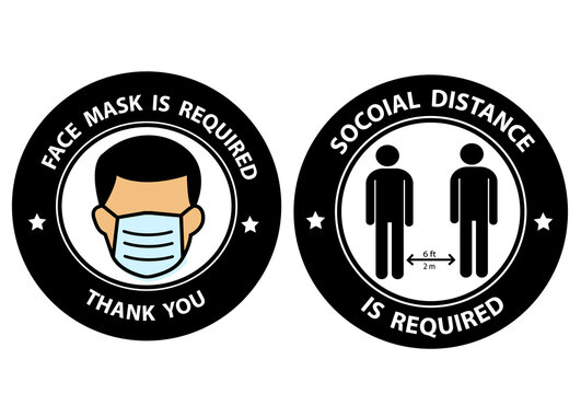 Face Masks Required and Social Distancing Required 6 ft or 6 Feet Round Adhesive Sticker or Badge Icons against the Spread of Coronavirus Covid-19.