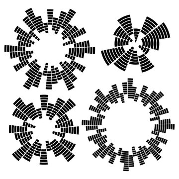 Set of monochrome geometric circular equalizers. Eq round audio soundwaves. Vector illustration isolated on white background.