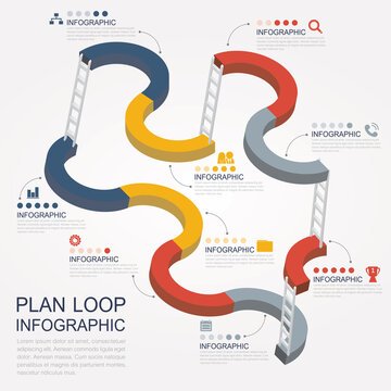 loop plan infographic with 8options.  chart for business infographics with the set of flat icons and design elements. Can be used for step option, graph, website, diagram, report, chart