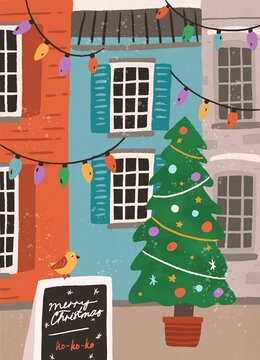 Greeting Xmas card with Merry Christmas inscription on slate board on empty city street decorated with festive light garland, potted fir tree. Hand drawn colorful flat vector illustration