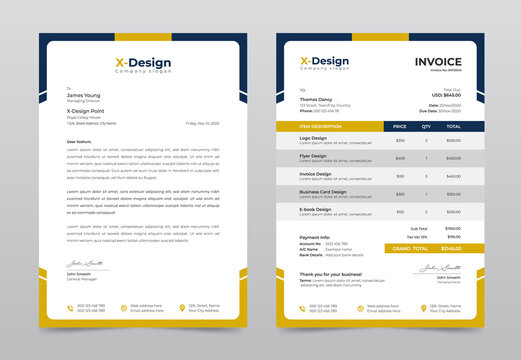 Corporate business letterhead and invoice template, Business Branding identity design template