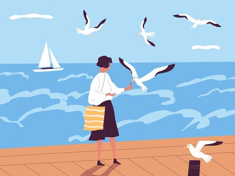 Summer vacation at seaside resort. Happy woman walking along quay and feeding seagulls against sea or ocean with sailboat on horizon. Female spending time alone. Flat vector illustration.