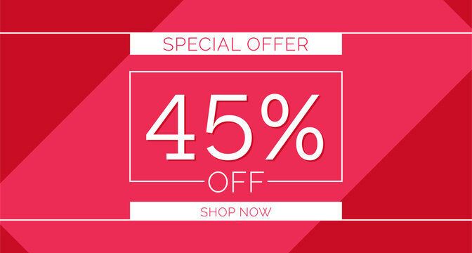 45% off special offer banner, 45% off simple banner design