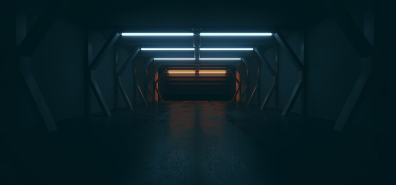 Futuristic Sci Fi Modern Spaceship Tunnel Showroom Corridor Dark Cinematic Blue Orange Lights Empty Realistic Cyber Garage Warehouse 3D Rendering