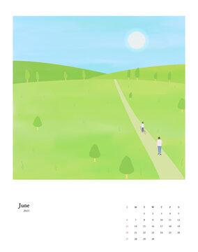 2021 New Year Calendar Set 06 : men and women summer scenery