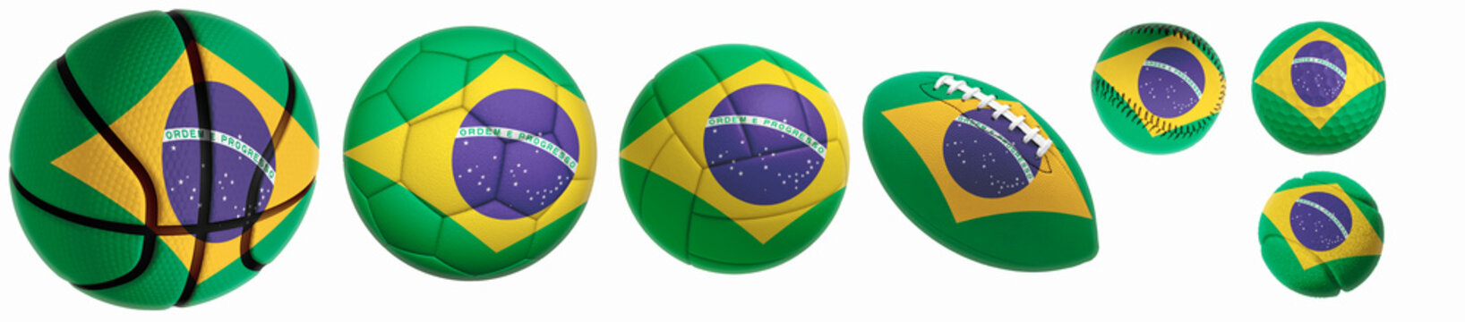 flag superimposed on balls: Golf, basketball, volleyball, soccer, tennis, rugby, baseball isolated on a white background. 3d rendering