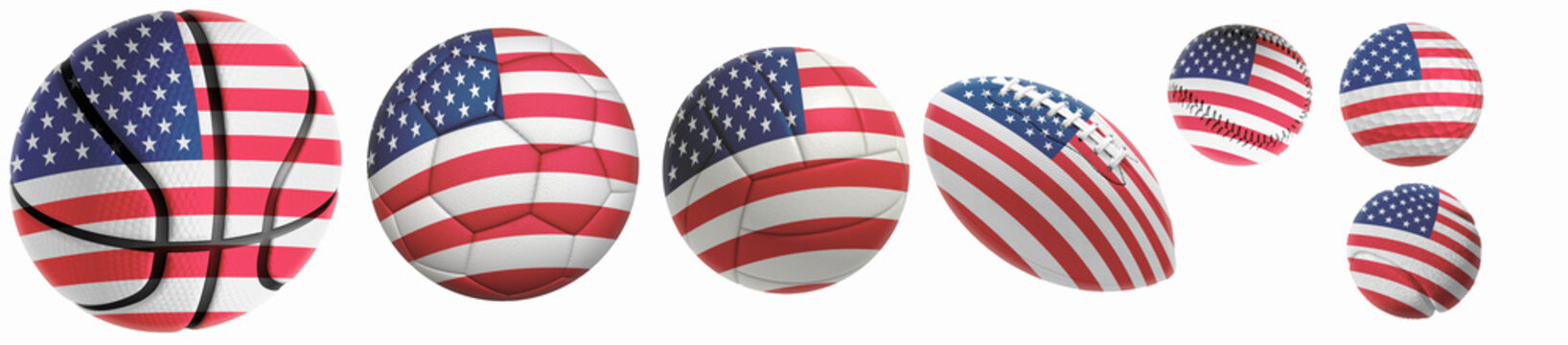 US flag superimposed on balls: Golf, basketball, volleyball, soccer, tennis, rugby, baseball isolated on a white background. 3d rendering