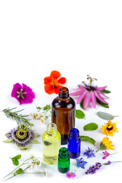 Essential Oil with Natural Herbs , and fresh flowers, Alternative Medicine