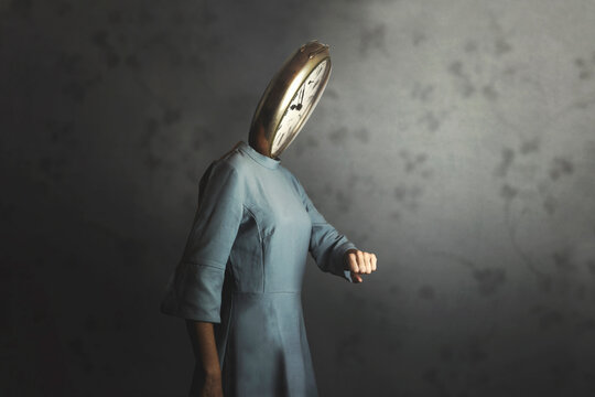 surreal woman with clock in place of face checks time pass