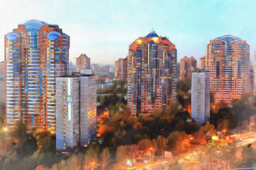 Modern apartment buildings at night colorful painting looks like picture Fotomurales