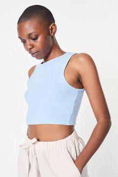 Women's light blue cropped tank top summer apparel