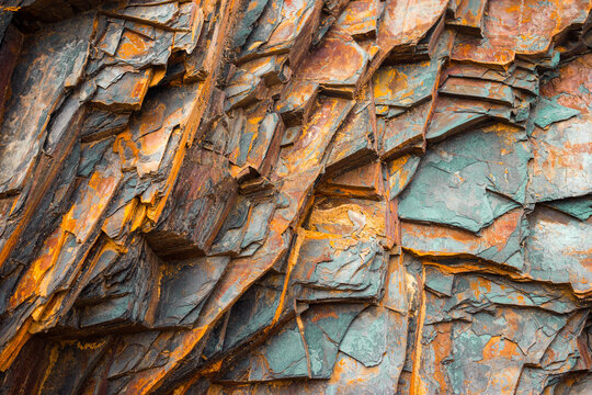 Rock layers , a colorful formation of rocks stacked over time. Interesting background a fascinating texture